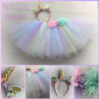 Unicorn tutu tulle skirt head set girls dress up cake smash photos fancy dress